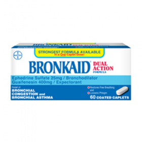 Bronkaid Caplets 25mg Dual Action 60ct